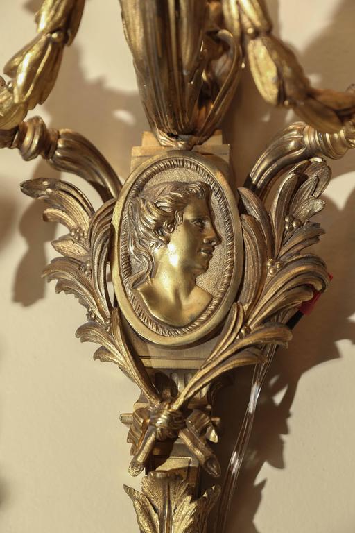 Bronze 19 th century bronze Dore french sconces For Sale