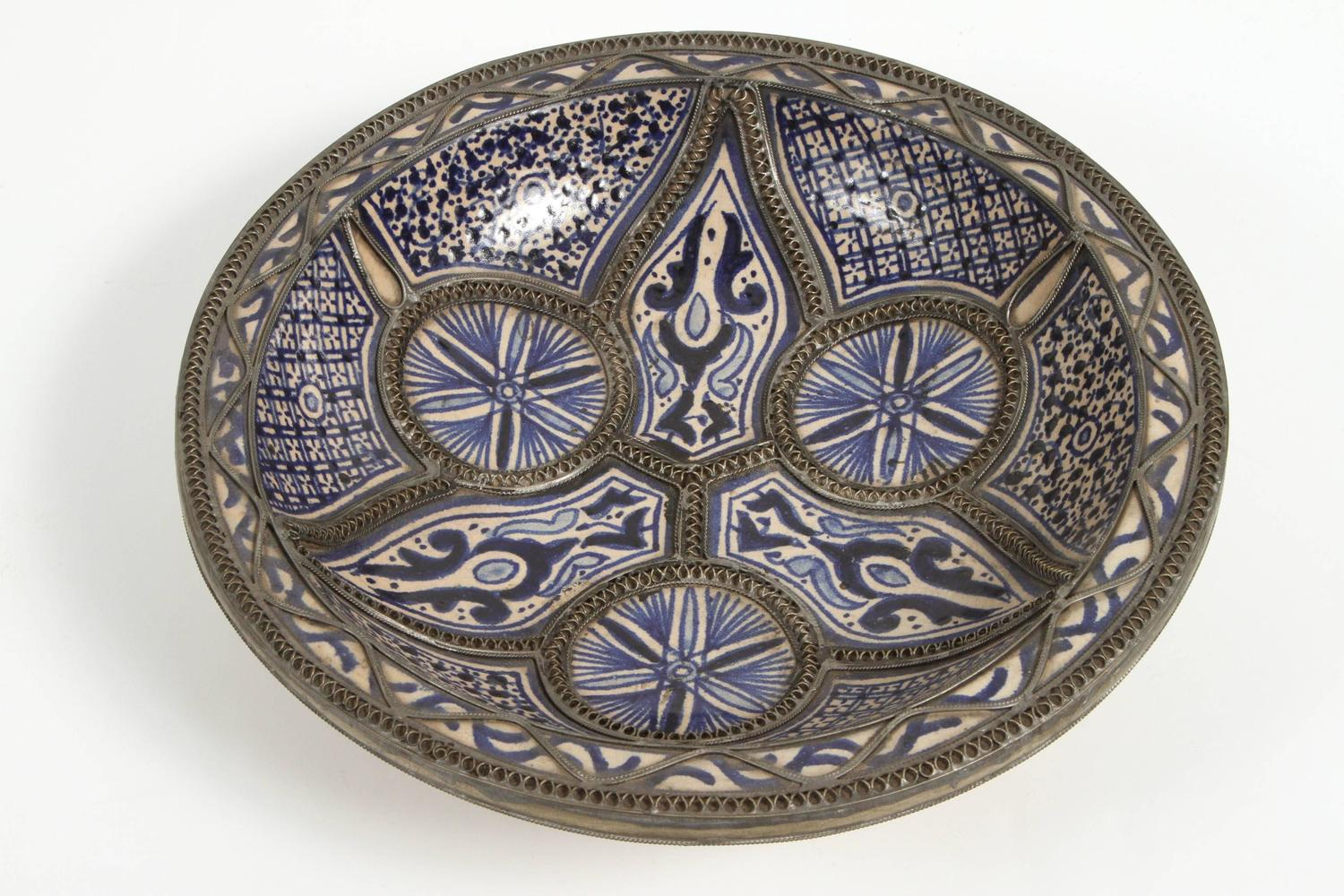 Set Of Three Ceramic Decorative Plates From Fez Morocco At