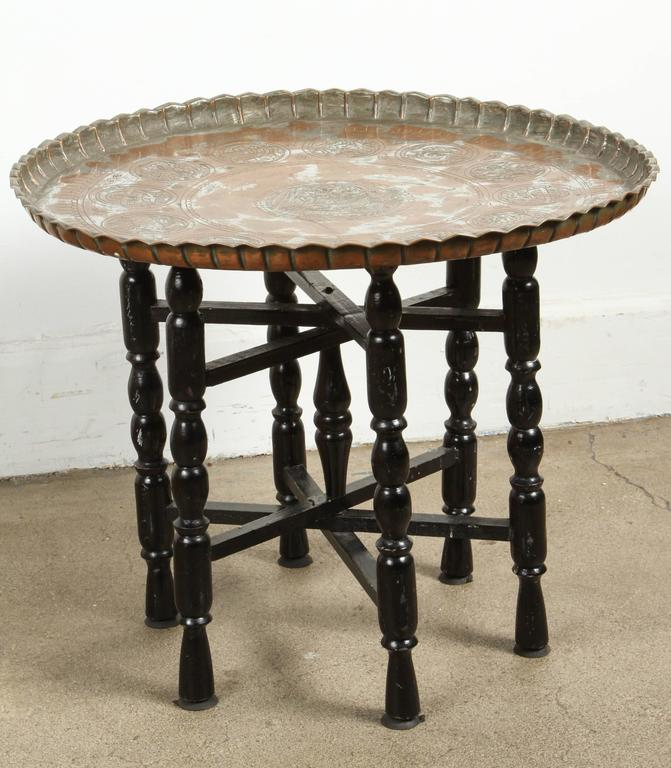 Vintage Middle Eastern Etched Round Copper Tray Table At