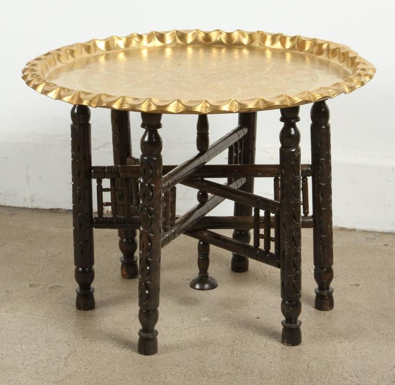 Vintage Moroccan Etched Brass Round Tray Table 2