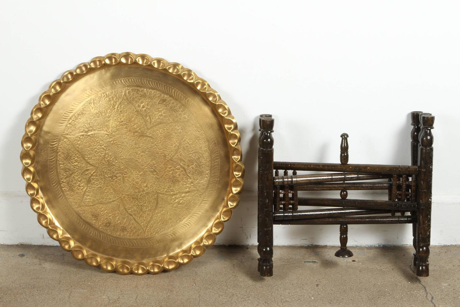 Vintage Moroccan Etched Brass Round Tray Table For Sale At