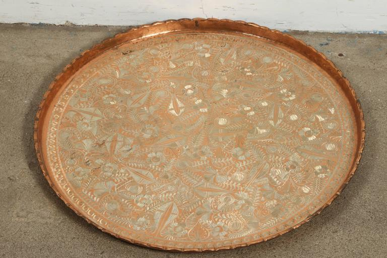 Large Turkish Hanging Copper and Brass Decorative Platter For Sale ...