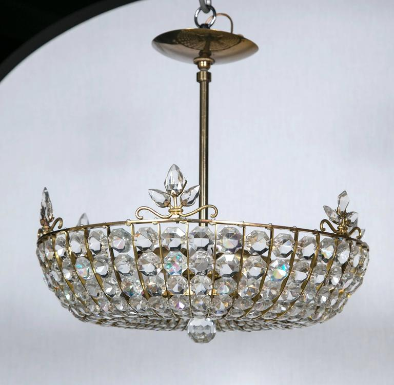 French Beaded Crystal Light Fixture For Sale At 1stdibs