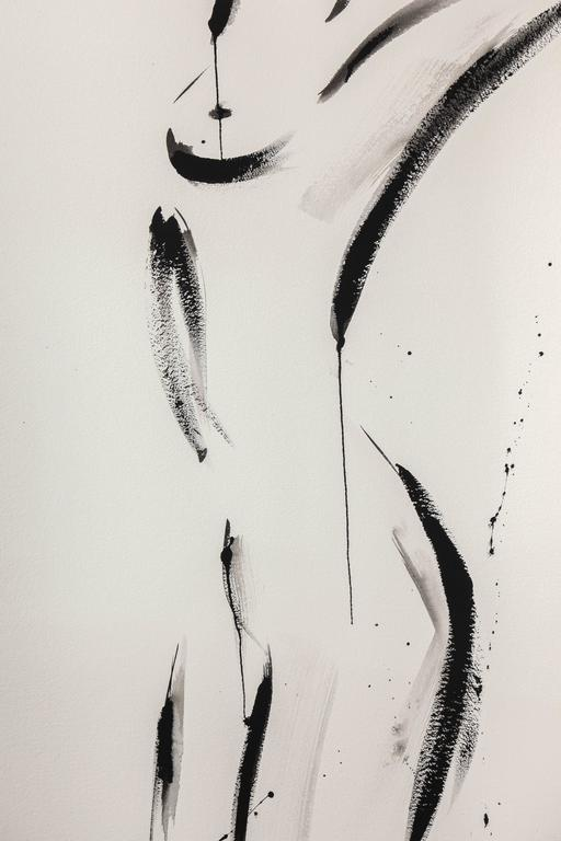 Beautiful nude painting by Jenna Snyder-Phillips. Sumi ink, charcoal and lacquer on 100% cotton archival paper. Artist is educated in Italy and USA.