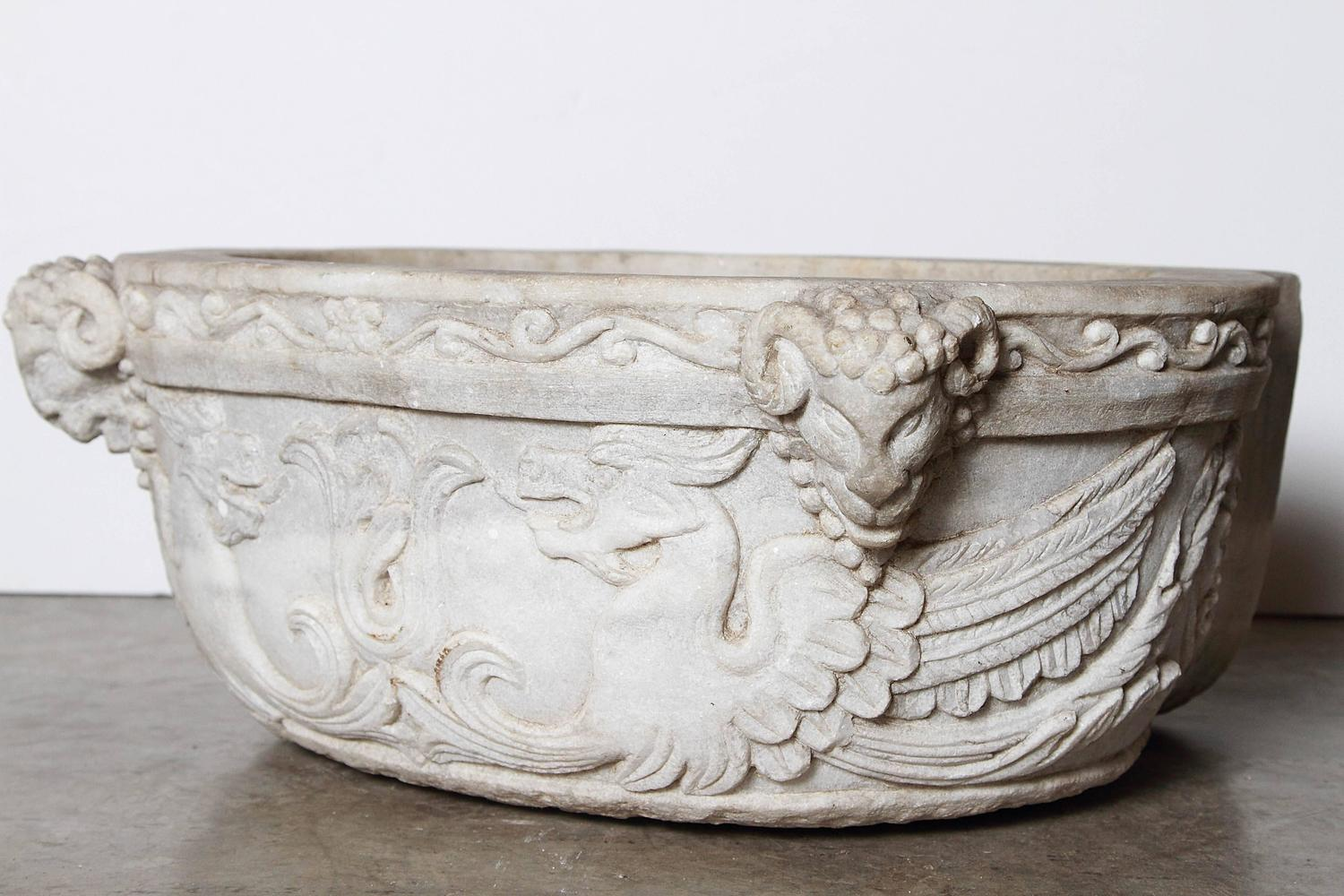 Carved Stone Sink : Carved Italian Marble Stoup or Sink, circa 1800 at 1stdibs