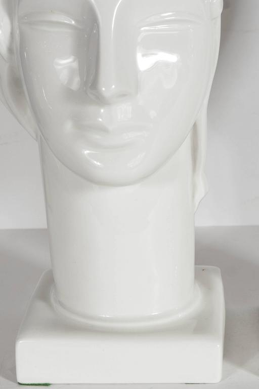 Pair of Art Deco by Geza De Vegh for Lamberton Scammell Porcelain Figure Heads In Excellent Condition For Sale In New York, NY