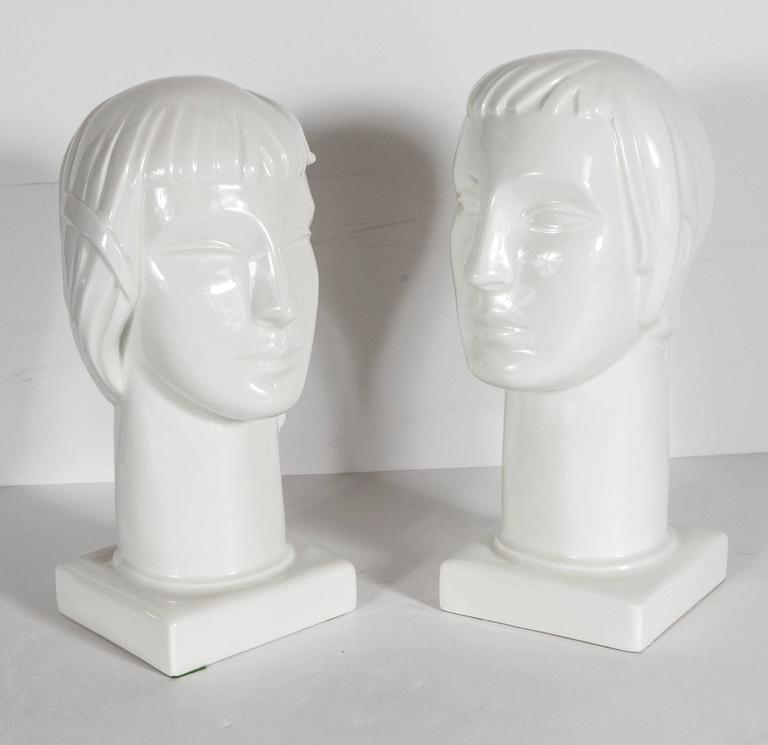 Mid-20th Century Pair of Art Deco by Geza De Vegh for Lamberton Scammell Porcelain Figure Heads For Sale