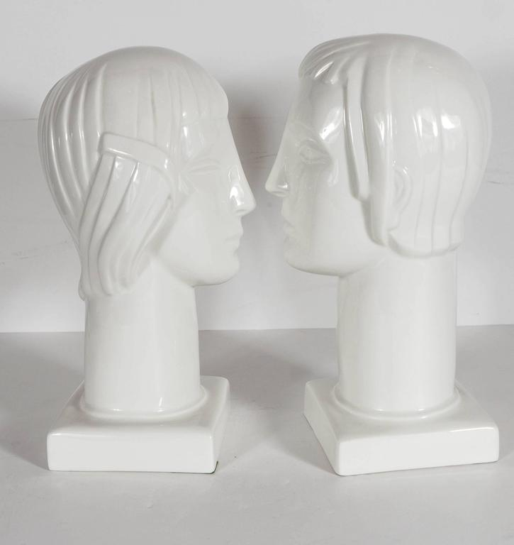 Pair of Art Deco by Geza De Vegh for Lamberton Scammell Porcelain Figure Heads For Sale 1