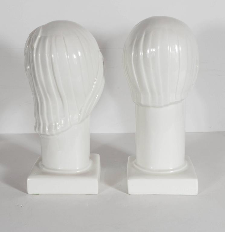 Pair of Art Deco by Geza De Vegh for Lamberton Scammell Porcelain Figure Heads For Sale 2