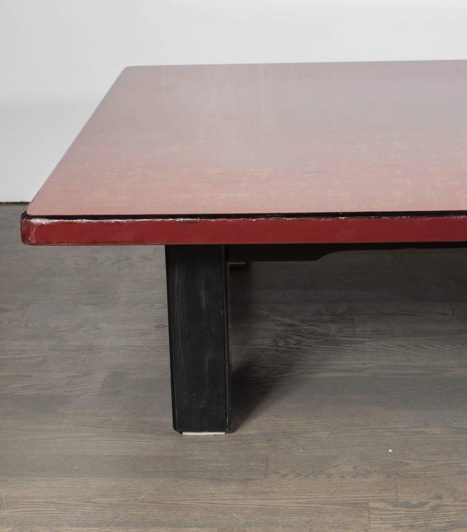 Mid-Century Modern Chinese Red Lacquered Coffee Table on Ebonized Table Legs 2