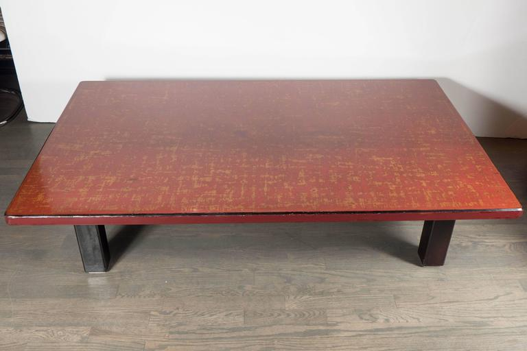 Mid-Century Modern Chinese Red Lacquered Coffee Table on Ebonized Table Legs 3