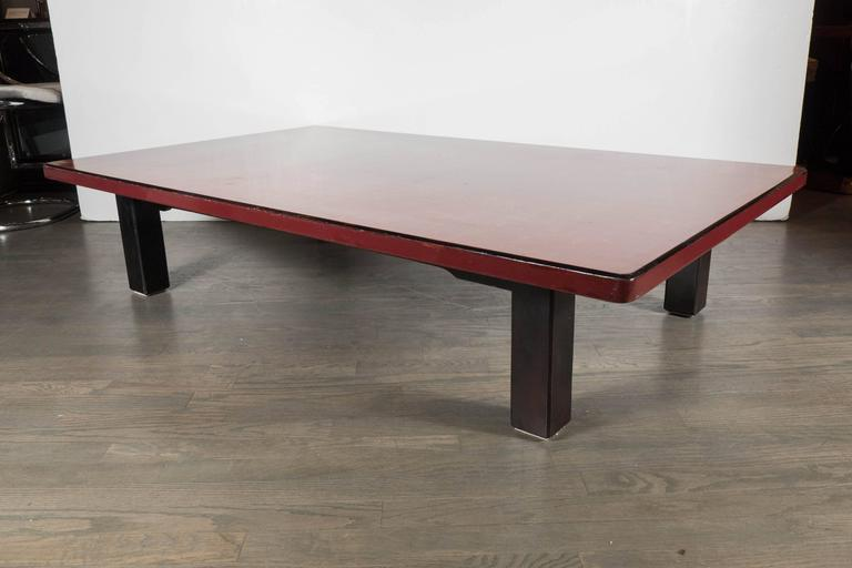 Mid-Century Modern Chinese Red Lacquered Coffee Table on Ebonized Table Legs 6