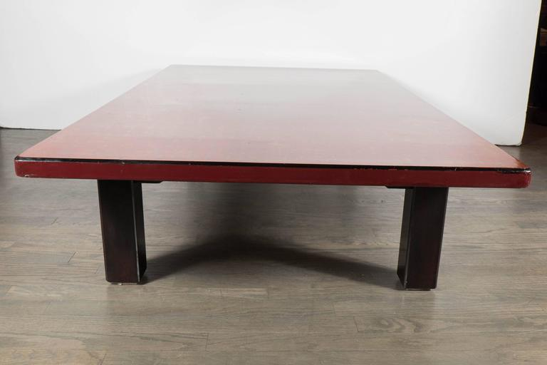 Mid-Century Modern Chinese Red Lacquered Coffee Table on Ebonized Table Legs 7