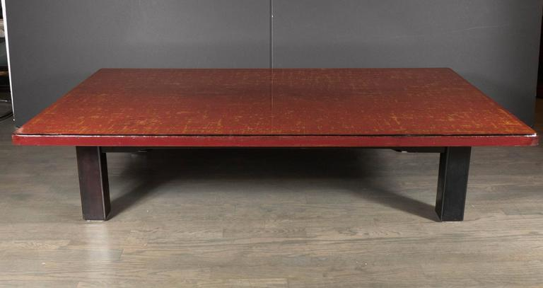Mid-Century Modern Chinese Red Lacquered Coffee Table on Ebonized Table Legs 8