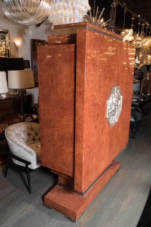 Art Deco Style Cabinet in Burled Walnut, White Gold Plaque, Manner of Ruhlmann 6