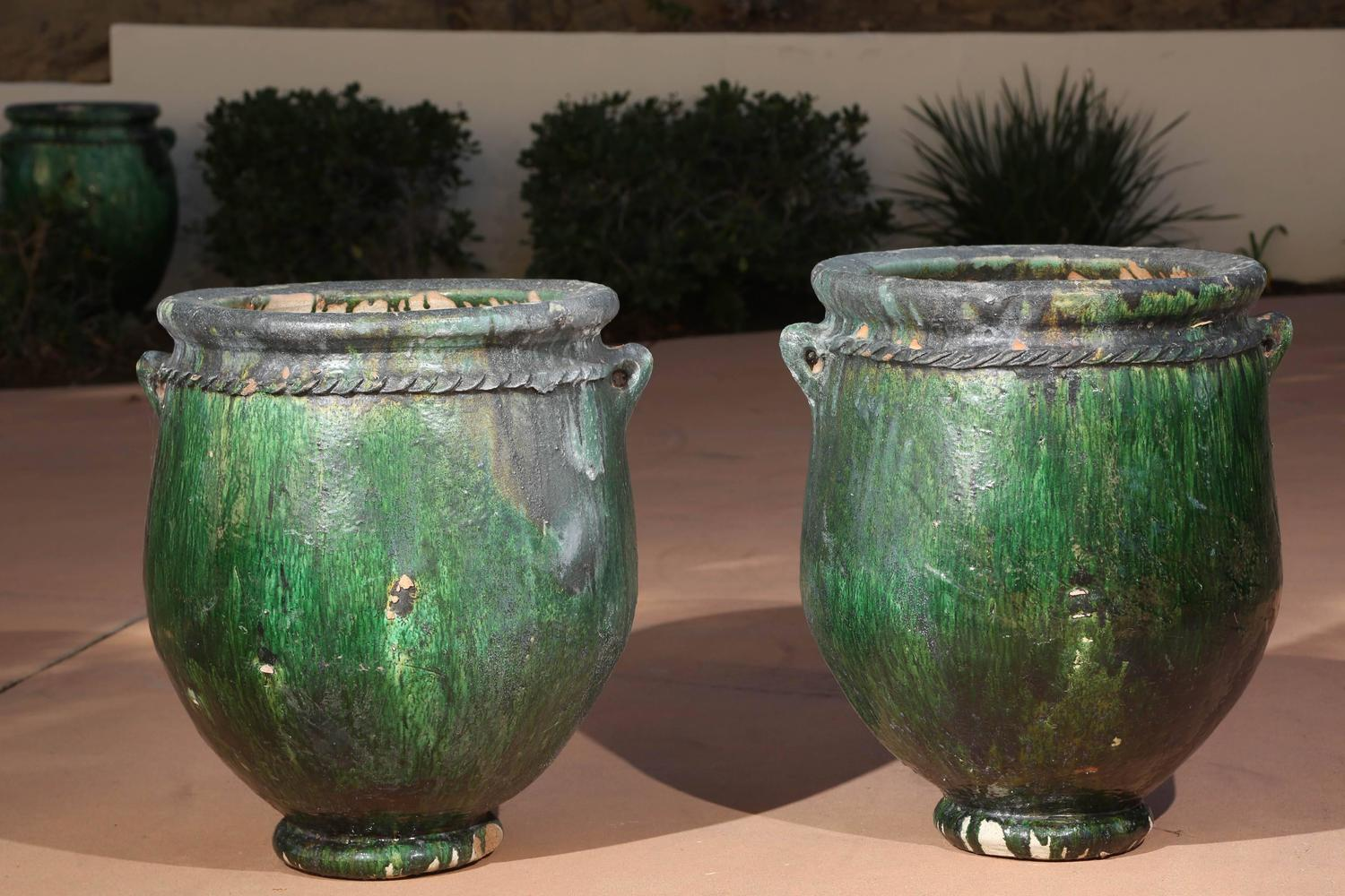 Large Oversized Green Moroccan Garden Planters At 1stdibs