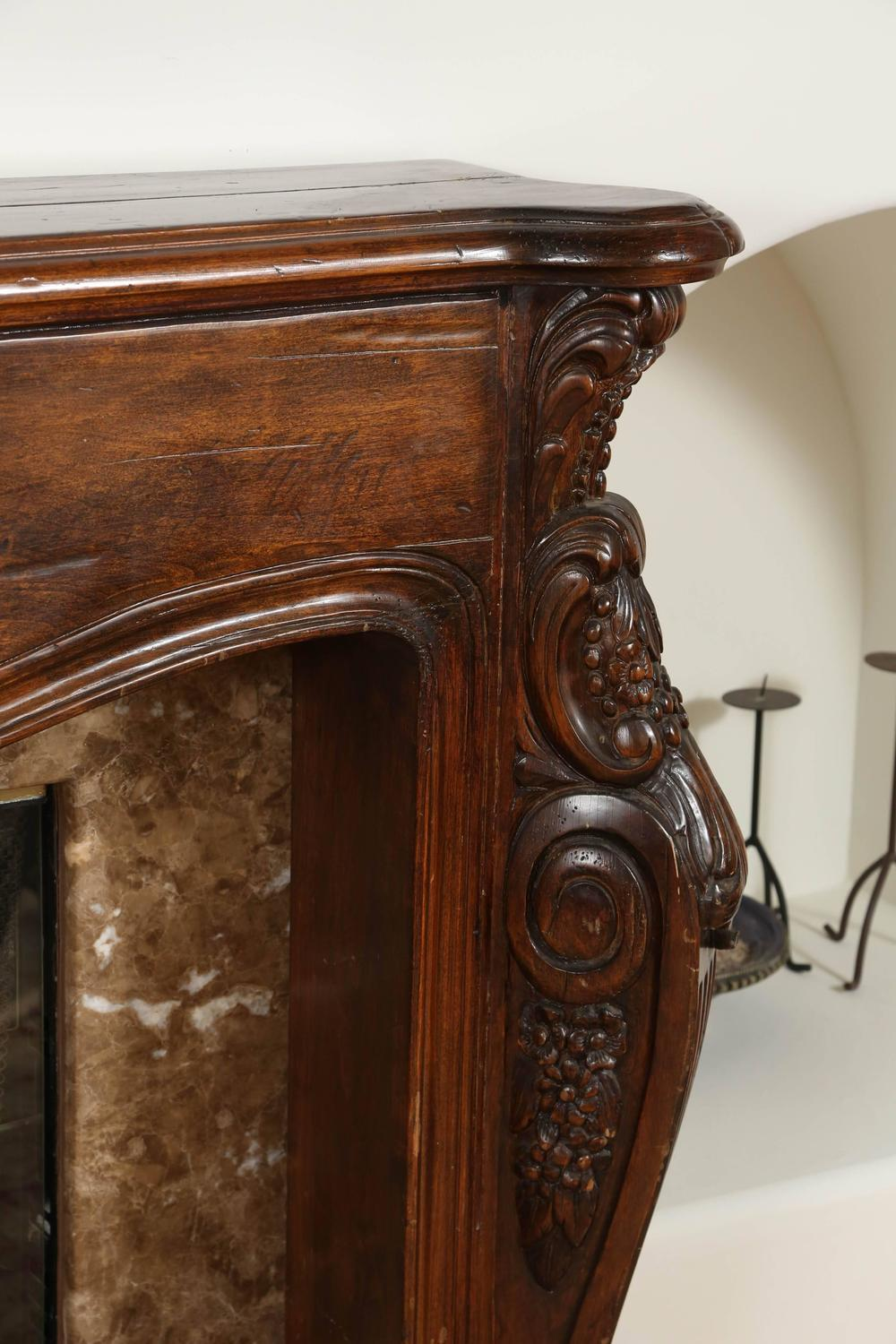 Louis Xvi Hand Carved Wooden Fireplace Mantel At 1stdibs