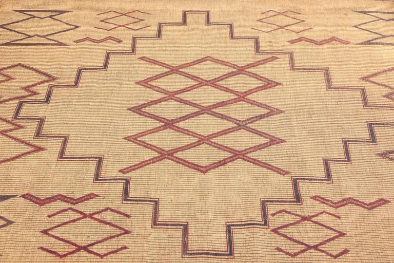 Tribal Vintage Moroccan Leather Tuareg Rug North Africa