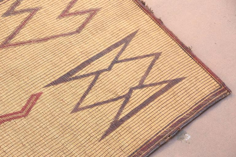 Hand-Crafted Vintage Moroccan Leather Tuareg Rug North Africa