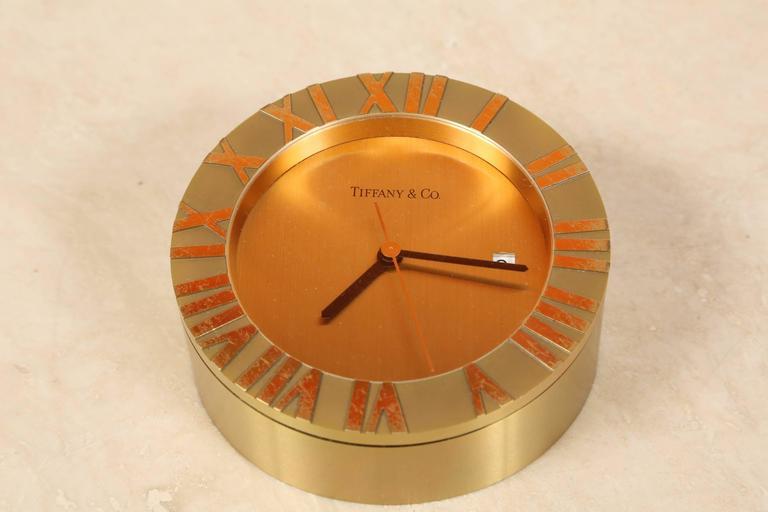 Tiffany & Co Brass Desk Clock 2