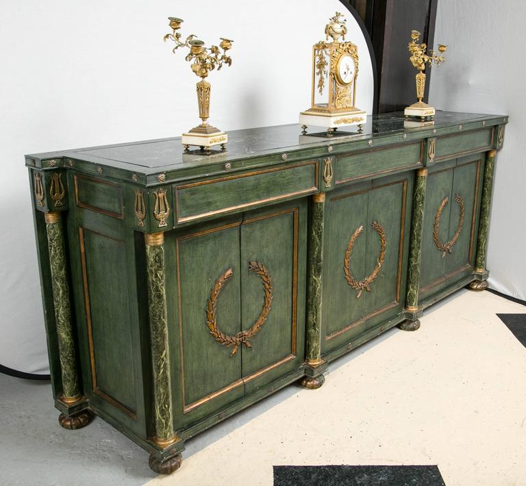 Monumental Italian Neoclassical Style Paint Decorated Marble-Top Console 2