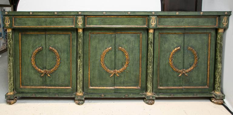 Monumental Italian Neoclassical Style Paint Decorated Marble-Top Console 5