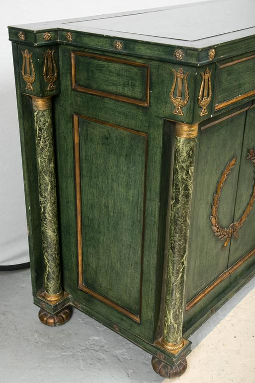 Monumental Italian Neoclassical Style Paint Decorated Marble-Top Console 6