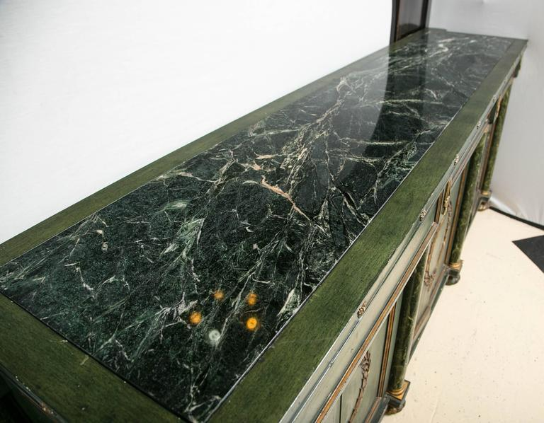 Monumental Italian Neoclassical Style Paint Decorated Marble-Top Console 9