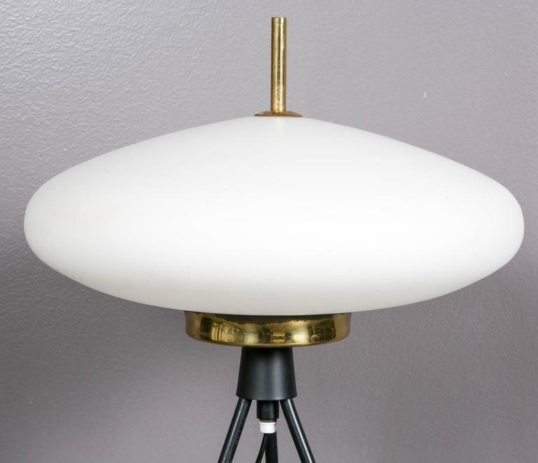 Fine lamp in brass with a white opaline glass. Lovely design and lighting, circa 1960. By Arlus.