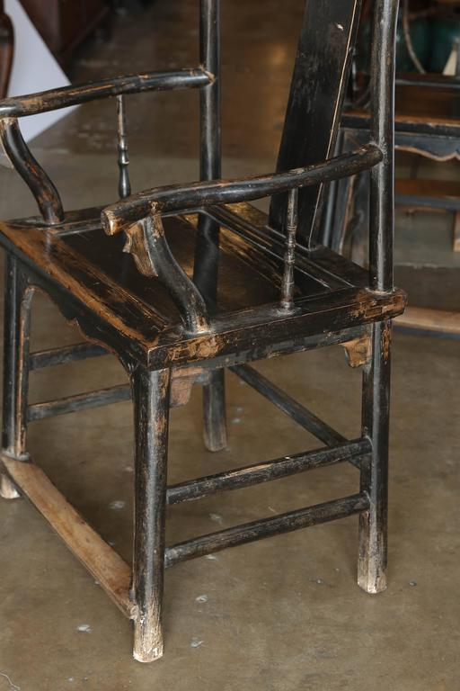 Chinese Pair of Yoke Back Elm Armchairs For Sale