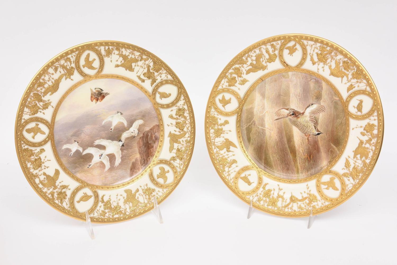 12 Custom Heavily Gilt Encrusted Game Bird Plates Antique