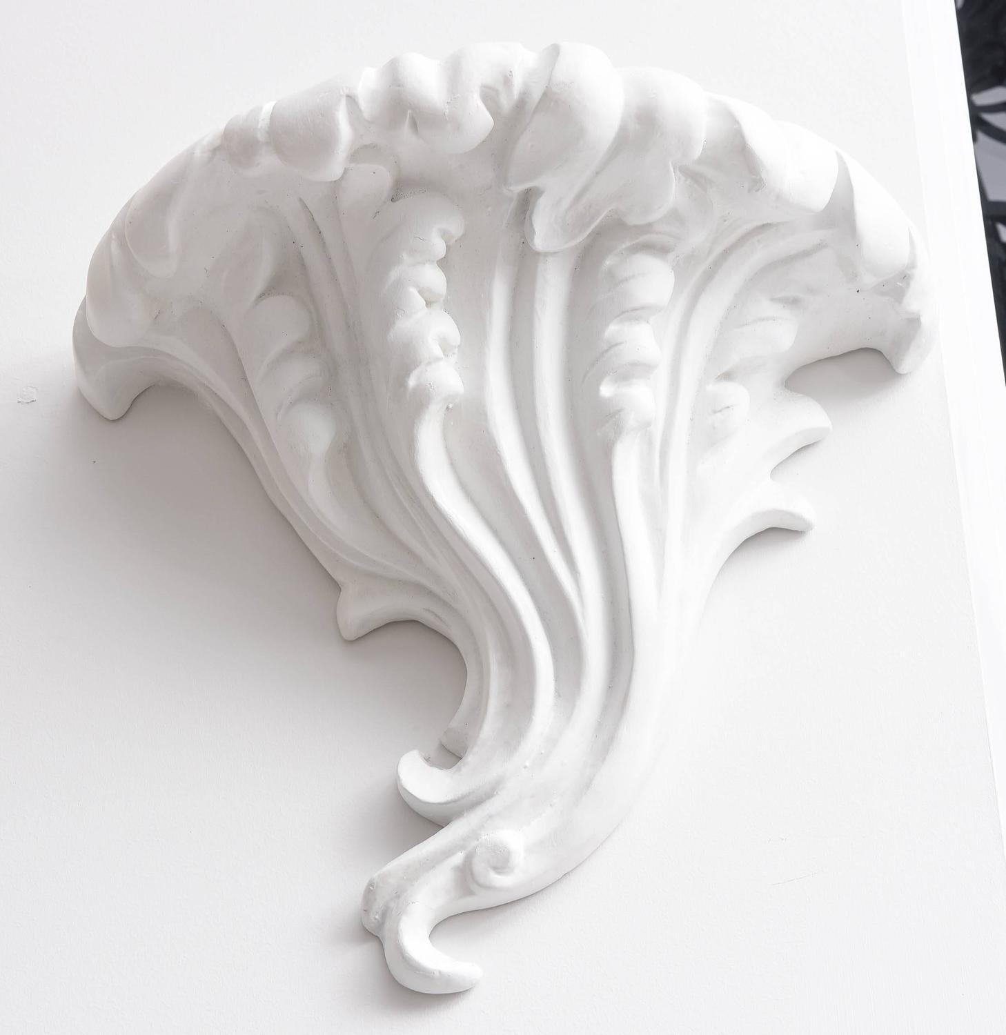 Plaster Cast Wall Lights : Pair Hollywood-Regency Style, Cast White Plaster Wall Sconces, 1940s For Sale at 1stdibs