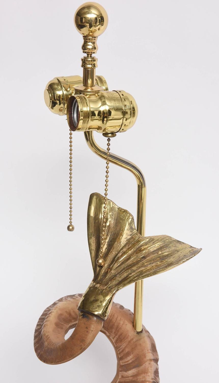 Pair Of Hollywood Regency Style Brass And Horn Dolphin