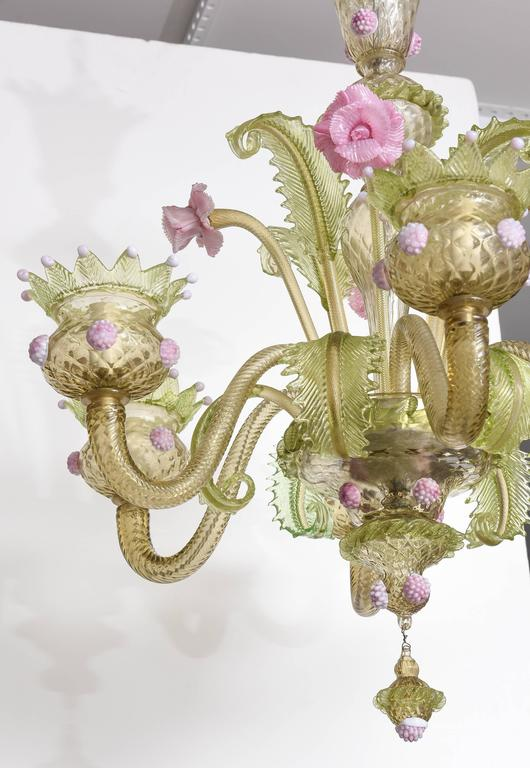 1930s louis xv style green and pink murano glass chandelier and italian 1930s louis xv style green and pink murano glass chandelier and two sconces aloadofball Images