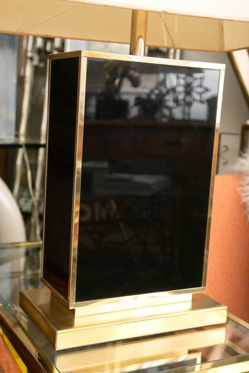Italian Black Lacquer and Gold Tone Table Lamp in the Manner of Romeo Rega For Sale