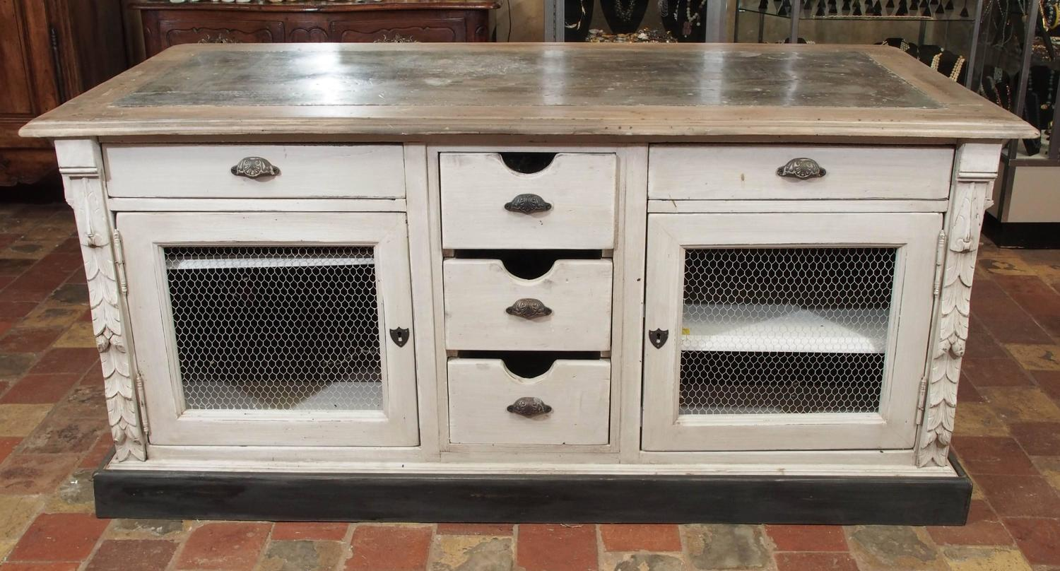 Custom Designed French Kitchen Island With A Zinc Top At 1stdibs