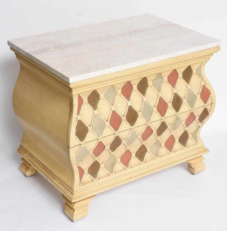 "Pair of ""Harlequin"" Bombay Chests, Travertine Tops In Excellent Condition For Sale In Miami, Miami Design District, FL"