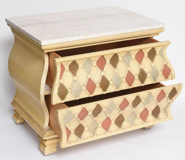 "Pair of ""Harlequin"" Bombay Chests, Travertine Tops For Sale 1"
