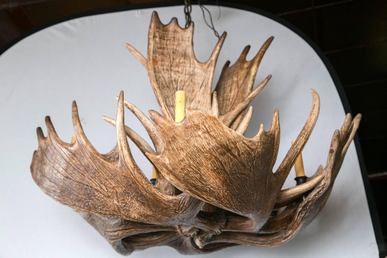 fantastic eight light moose antler chandelier for sale at. Black Bedroom Furniture Sets. Home Design Ideas