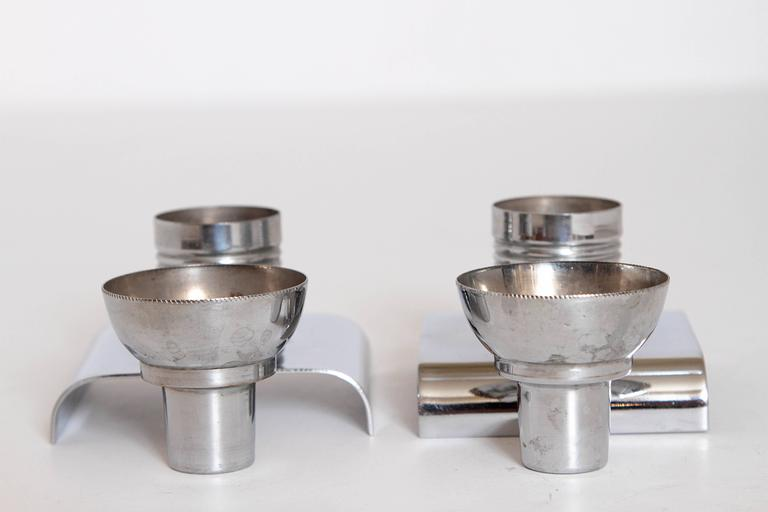 Machine Age Art Deco Alfons Bach Studio Cigar Ashtray and Candlesticks Signed For Sale 2