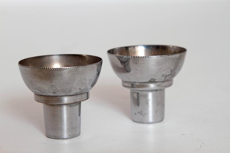 Machine Age Art Deco Alfons Bach Studio Cigar Ashtray and Candlesticks Signed For Sale 3