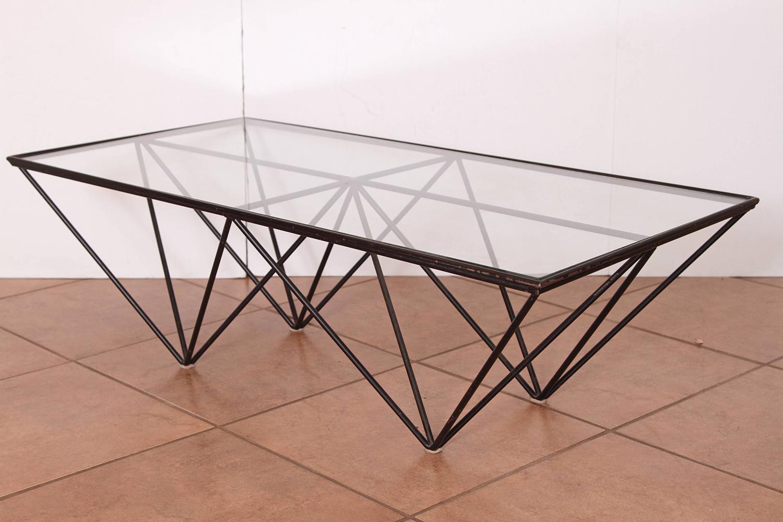 Paolo piva wrought iron and glass alanda coffee table b b for Wrought iron and glass coffee table