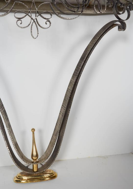 Fine French Art Deco Iron and Brass Console with Marble Top Poillerat In Excellent Condition In New York City, NY