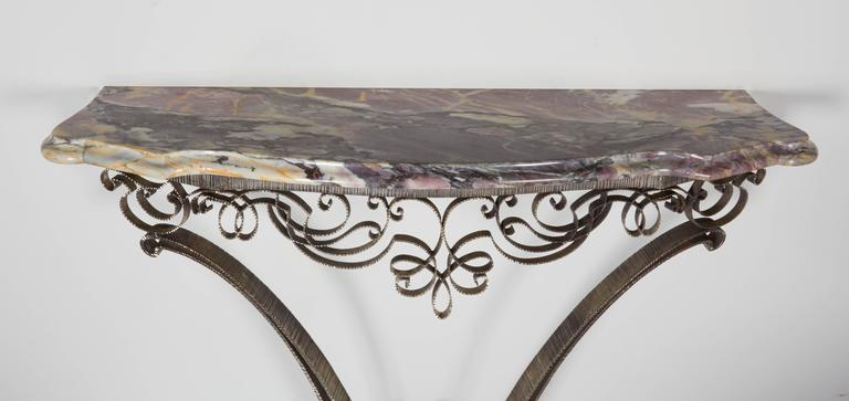 Mid-20th Century Fine French Art Deco Iron and Brass Console with Marble Top Poillerat