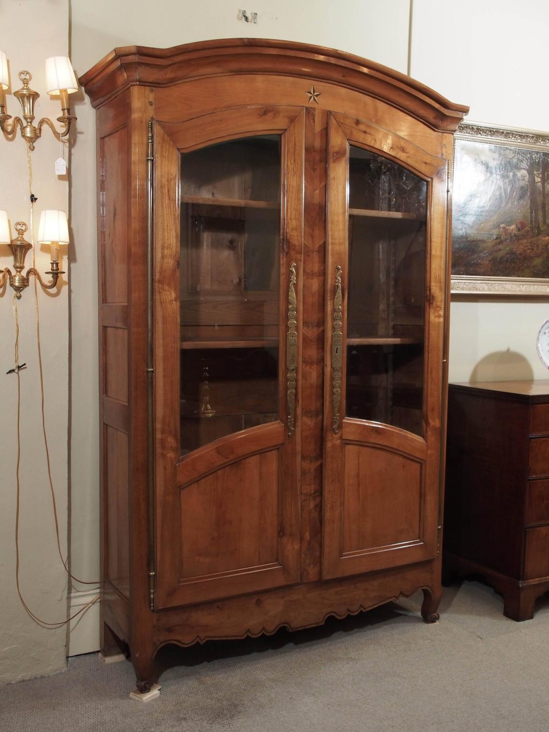 Antique French Fruitwood Inlaid Bookcase Display Cabinet