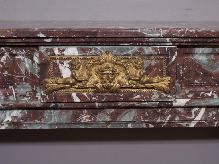 Louis XVI Antique French Bronze Mounted Marble Mantle For Sale