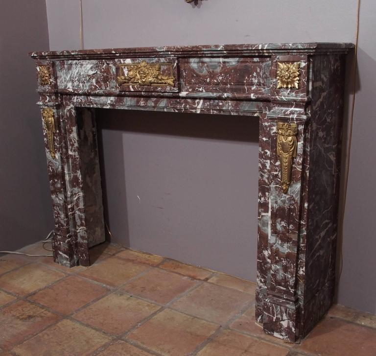 19th Century Antique French Bronze Mounted Marble Mantle For Sale