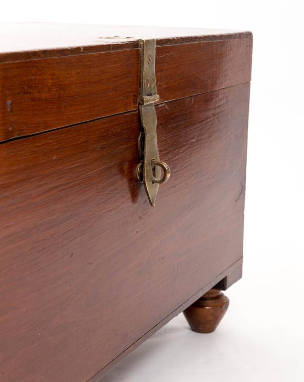Anglo Raj 19th Century Anglo-Indian Teak Trunk, India, circa 1870 For Sale