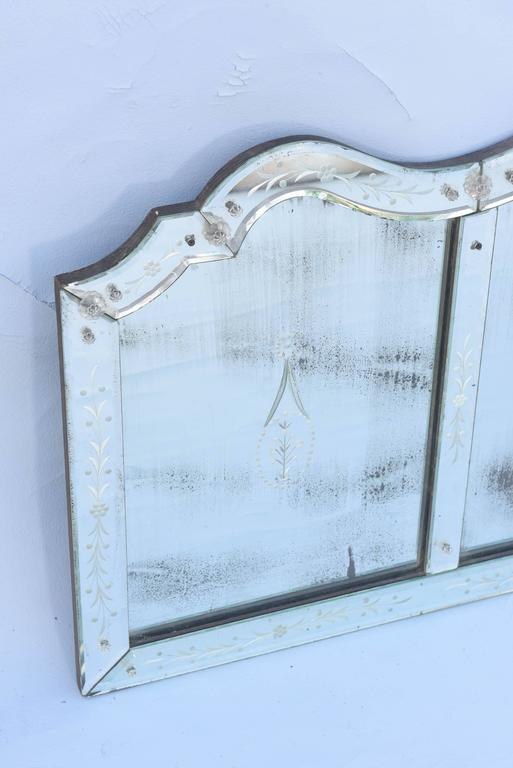 Italian Etched Venetian Glass Overmantel Mirror For Sale