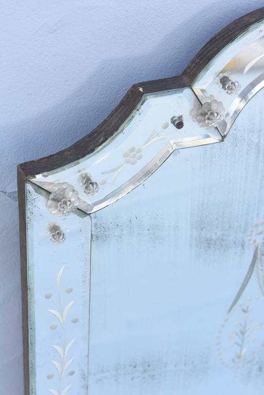 Etched Venetian Glass Overmantel Mirror In Excellent Condition For Sale In West Palm Beach, FL